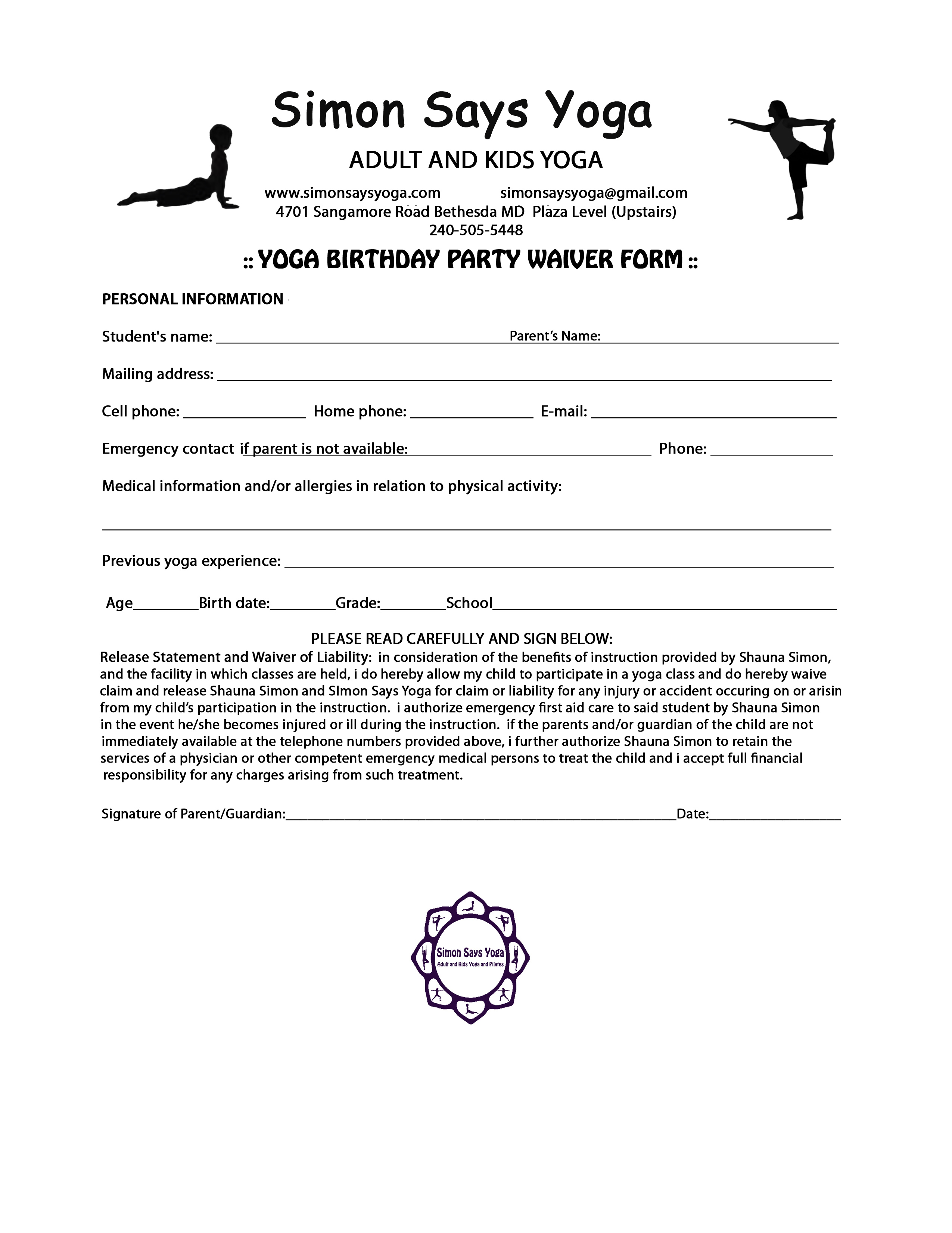 Yoga Waiver Form Template – Waiver Template